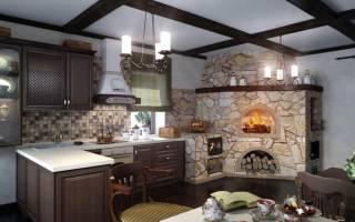 Интерьер кухни в частном доме с печью