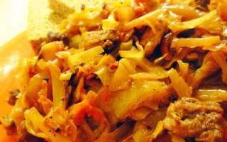 Как пожарить вкусно капусту с мясом