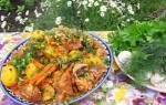 Блюдо в казане из мяса и овощей
