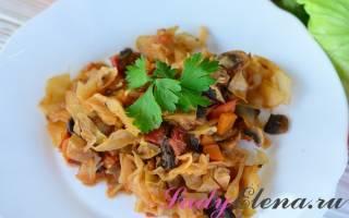 Как приготовить капусту с грибами на сковороде