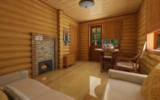Интерьер комнаты отдыха в бане с камином
