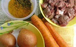 Ингредиенты для плова в казане из баранины